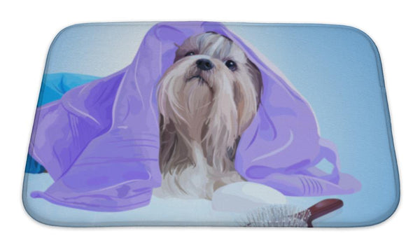 Bath Mat, Shih Tzu Dog After Washing With Bathrobe Towels And Comb - Paws & Play