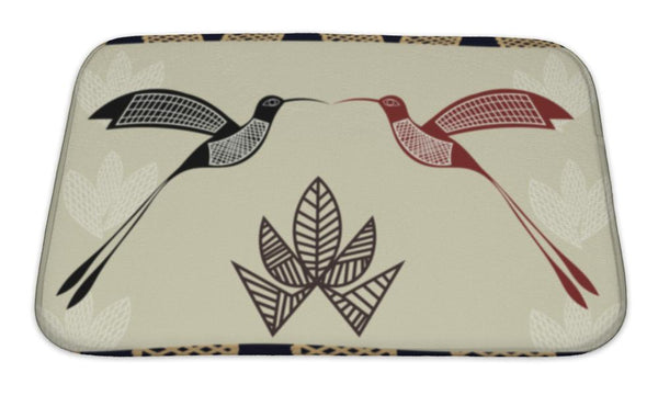 Bath Mat, Abstract With The Image Of Bamboo And Hummingbi - Paws & Play