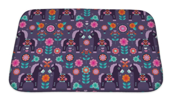 Bath Mat, Matryoshka Folklore Pony Illustration Retro Horse Pattern In - Paws & Play