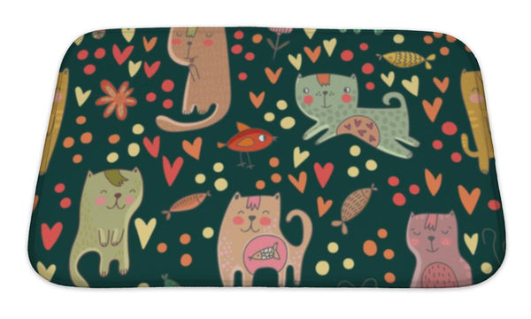 Bath Mat, Childish Pattern With Cats And Fish In Pattern Can Be Used For Wallpapers - Paws & Play