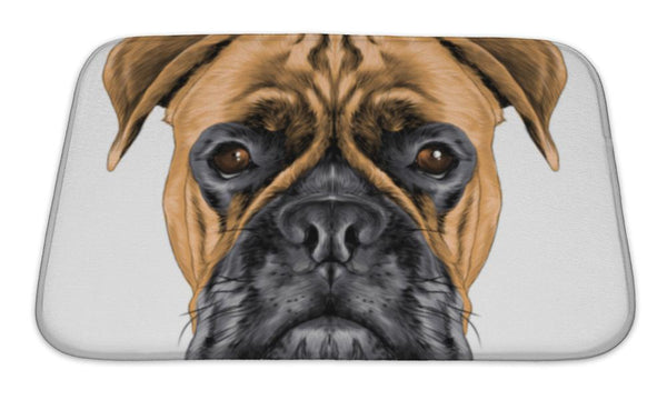 Bath Mat, The Head Of The Dog Breed Boxer Dog Collar C A Sketch Graphics Colored Drawing - Paws & Play