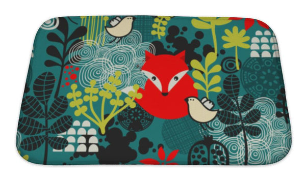 Bath Mat, Birds Fox And Flowers Pattern - Paws & Play