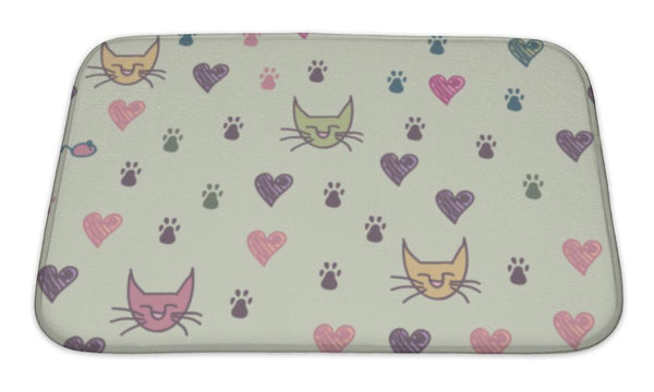 Bath Mat, A Pattern Of Cats Footprint - Paws & Play