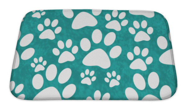 Bath Mat, Teal And White Dog Paw Prints Tile Pattern Repeat - Paws & Play
