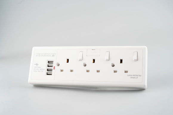 Convertor Socket 1G/2G To 3-Gang 13A with USB (4800mA)