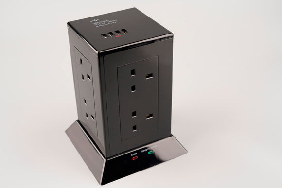 8 Way Tower Socket with Surge and USB (4800mA) – Black