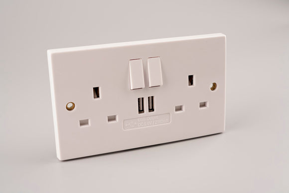 13A 2Gang Switched USB Socket (2100mA)