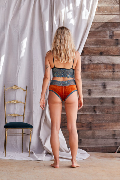Velvet Lace Rust and Teal ~ Briefs