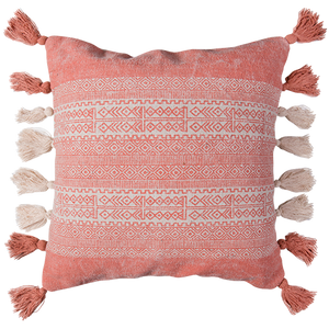 Coral Fringed Cushion
