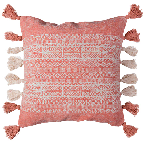 Embroidered cotton Fringed cushion