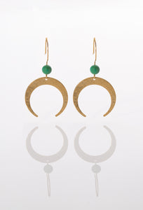 Crescent Earrings  ~ Gold brass