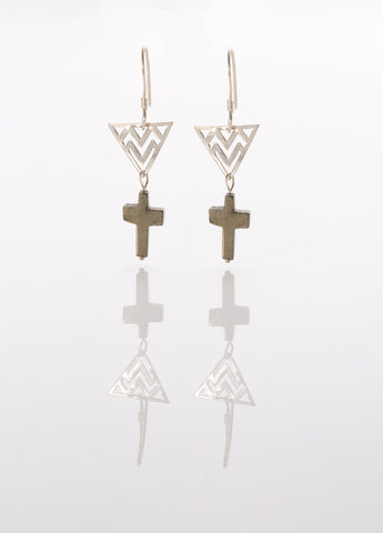 Pyrite Cross Sterling Silver Earrings