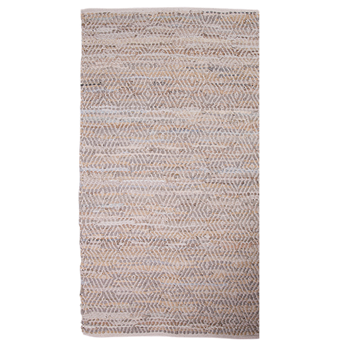 Diamond Leather cotton rug ~ Beige 60x 90cm