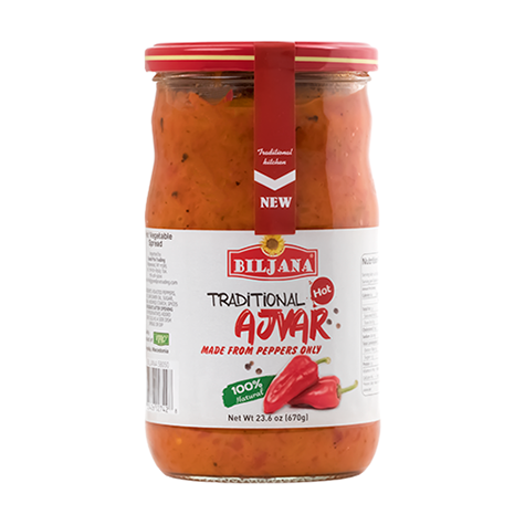 BILJANA Traditional Ajvar 100% Peppers Hot 12/670g