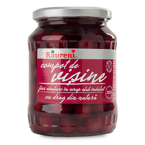 RAURENI Compot de Visine Pitted [Sour Cherry Pitted Compote] 12/720g [46402]