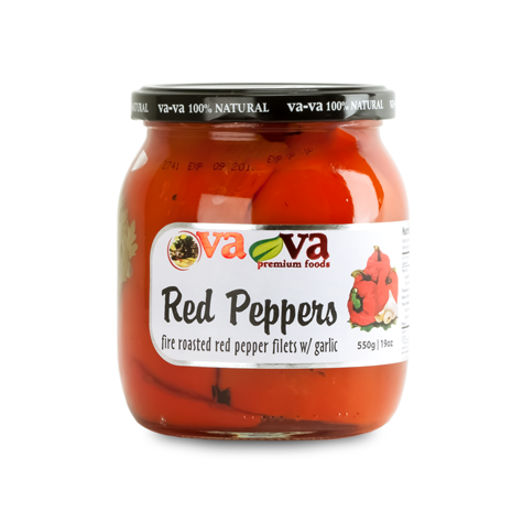 va-va FIre Roasted Red Peppers w/Garlic 6/550g