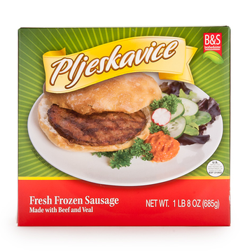 BROTHER AND SISTER Pljeskavice Beef Patties 32/24oz (Frozen)