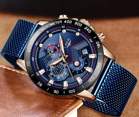 top luxury brand Fast shipping LIGE Chronograph Relogio Fashion luzia