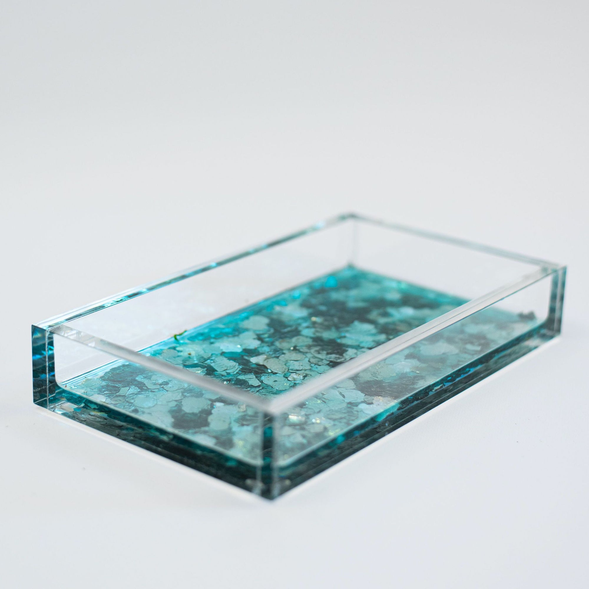 Acrylic + Metallic Tray tray Hugo Frings Metallics Teal