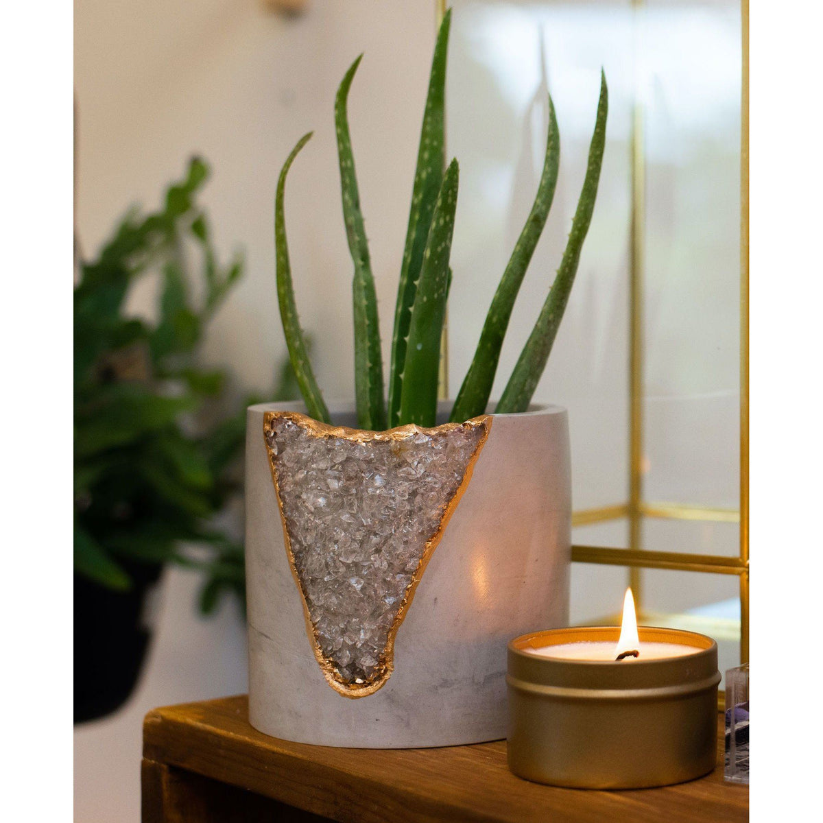 Geode Mod Planter - 4 Inch planter Tal & Bert Smokey Quartz Light
