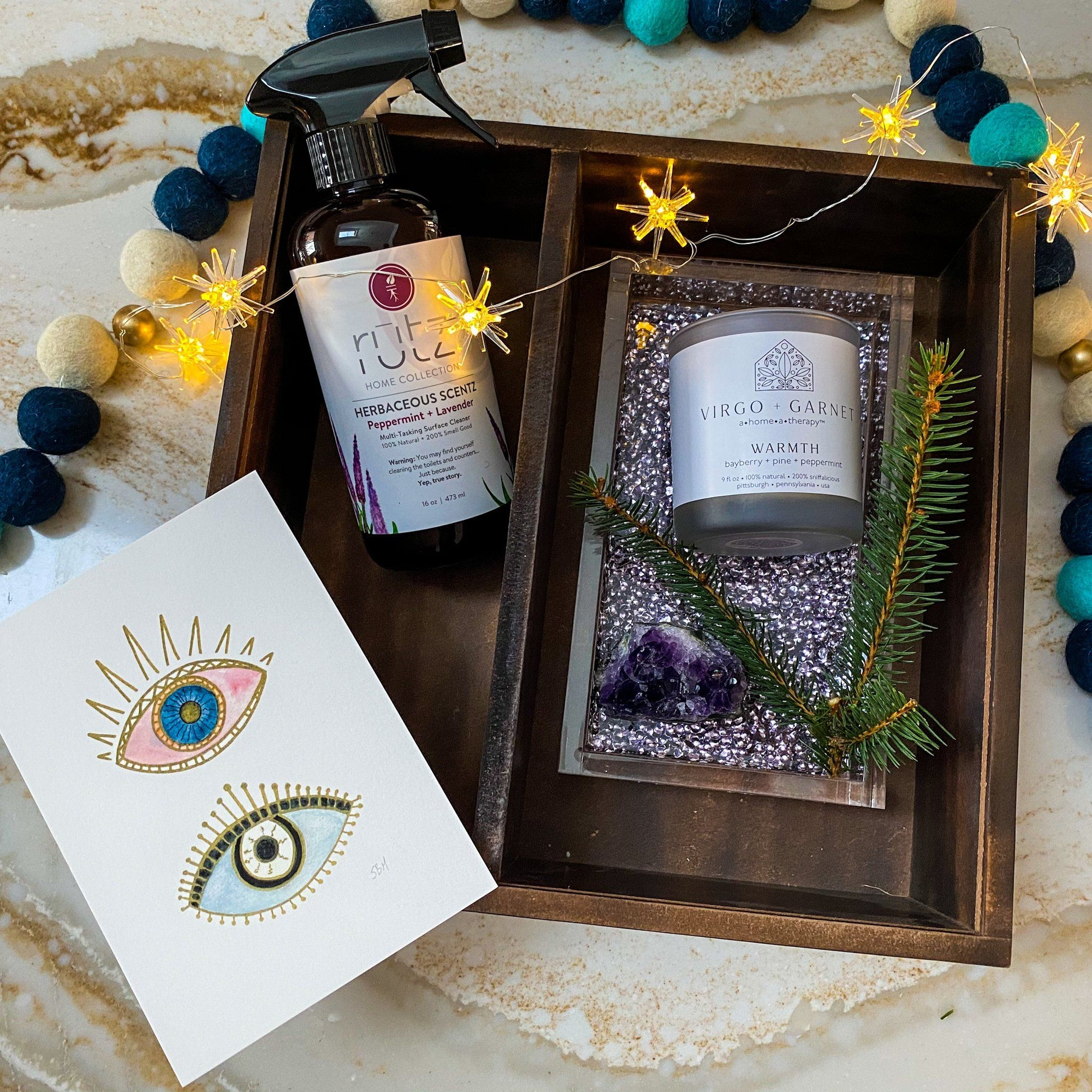 Lavender Acrylic Tray Gift Set gift box Virgo + Garnet | Beautifully Balanced Living