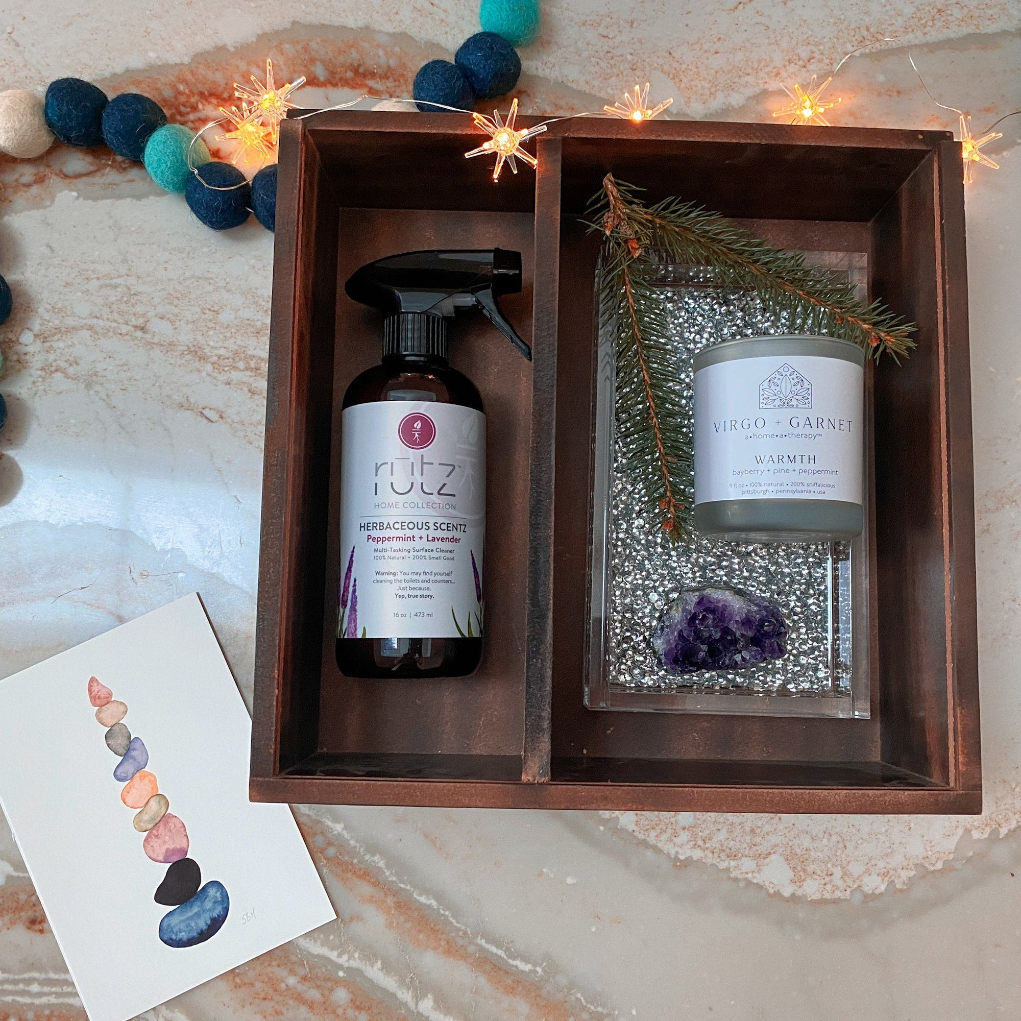 Silver Acrylic Tray Gift Set gift box Virgo + Garnet | Beautifully Balanced Living