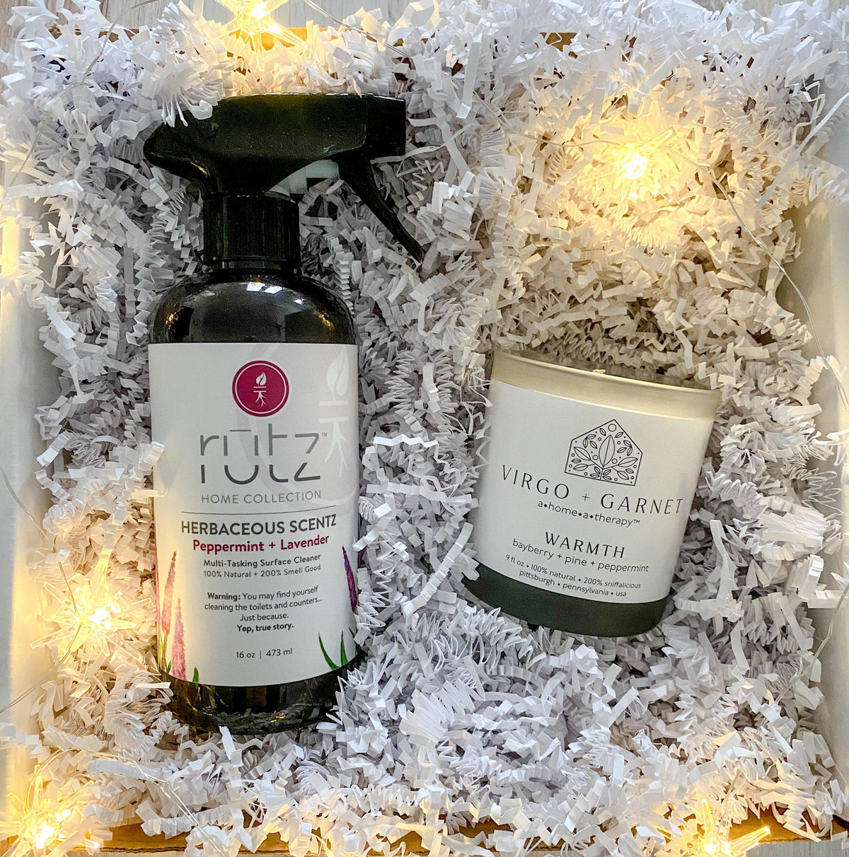 V+G Candle + All-Natural Cleaner gift box Virgo + Garnet | Beautifully Balanced Living