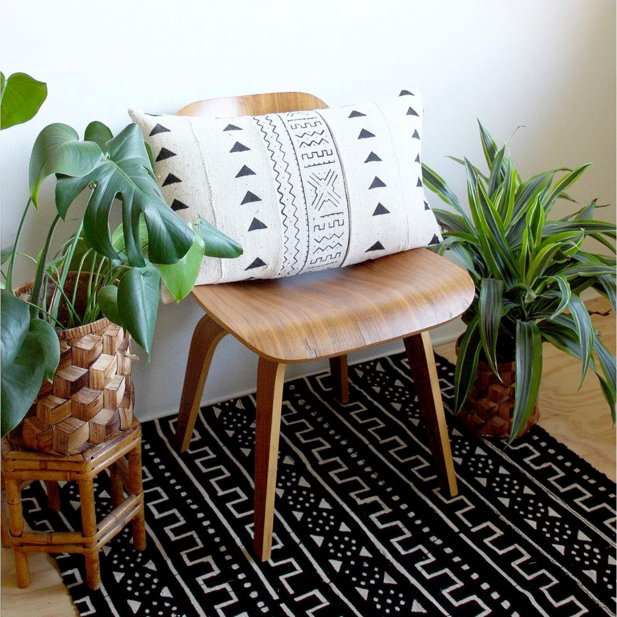White Mudcloth with Triangles Lumbar Pillow Cover pillow Norwegian Wood