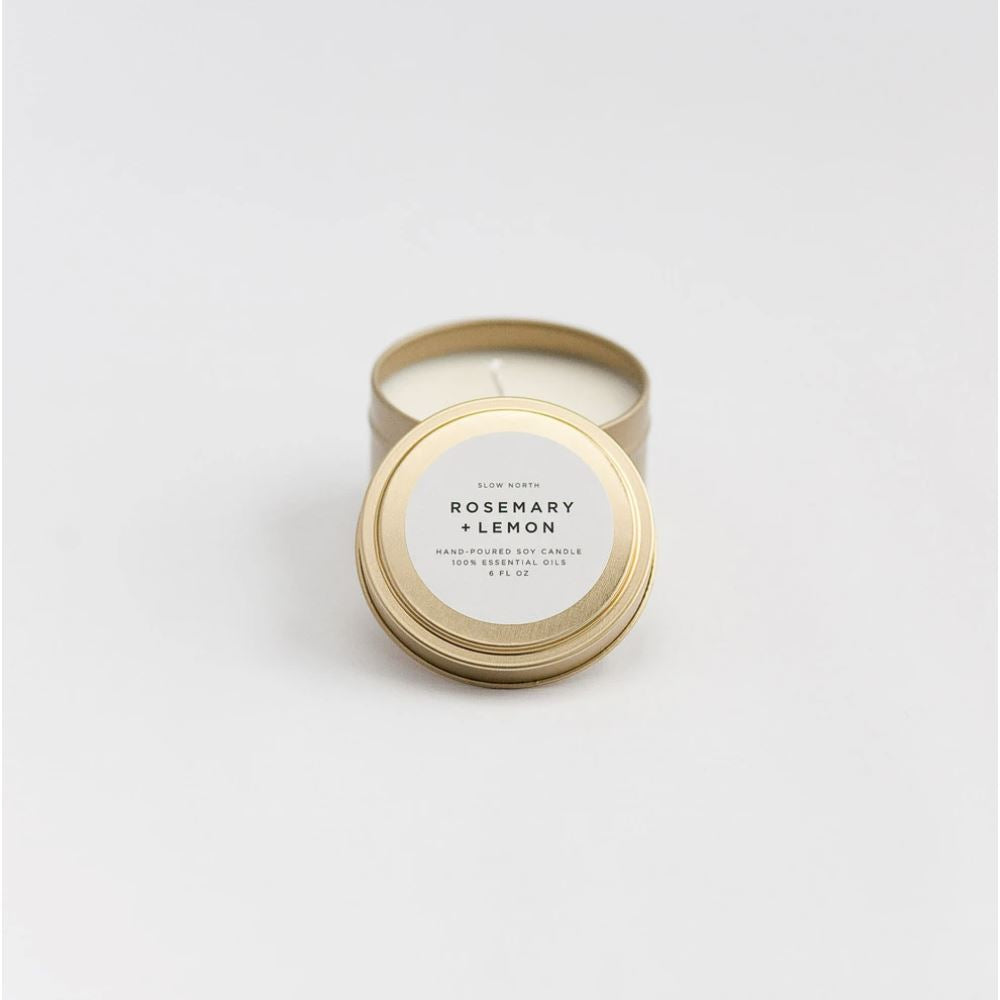 Travel Tin Candles - 6 ounce candle Slow North Rosemary + Lemon