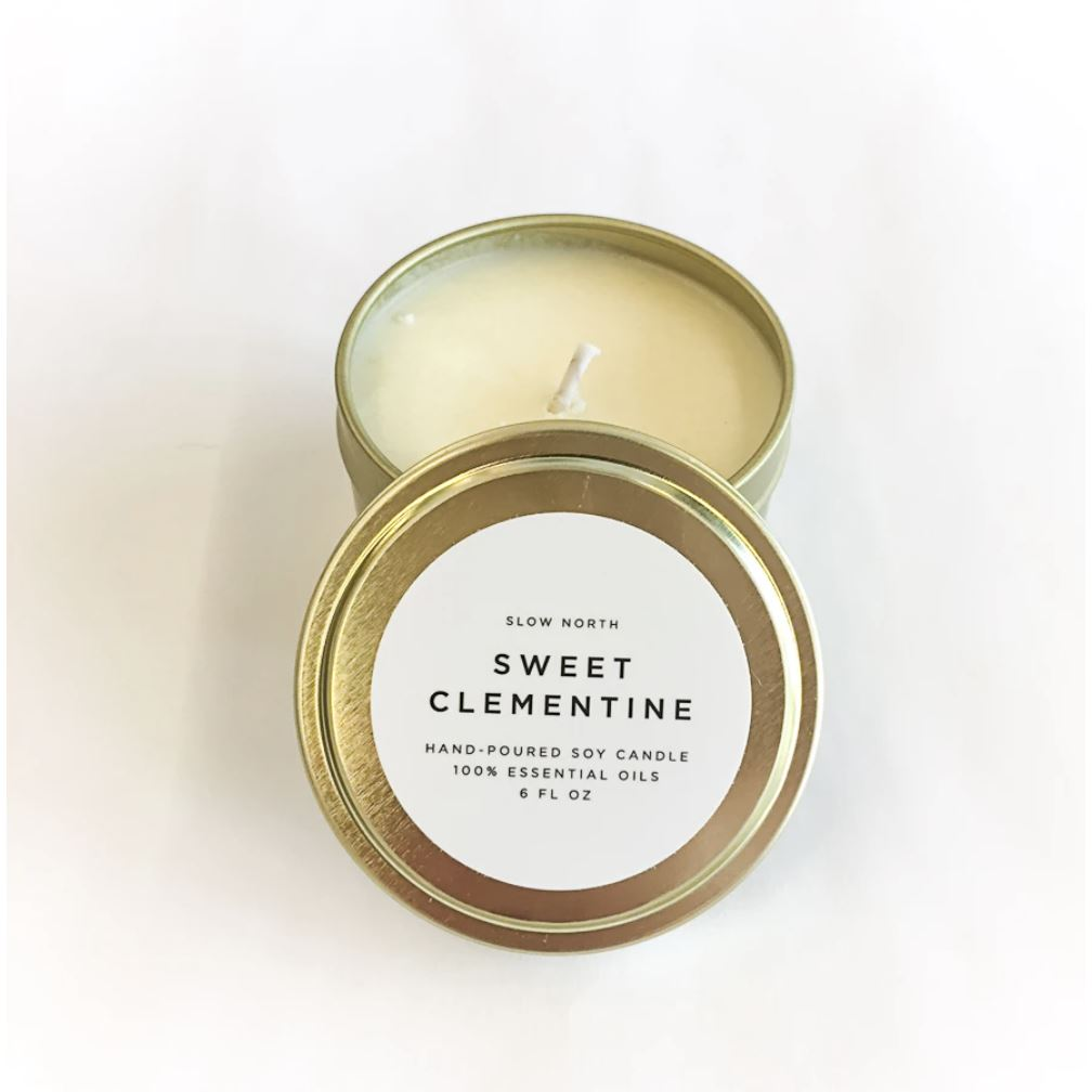 Travel Tin Candles - 6 ounce candle Slow North Sweet Clementine