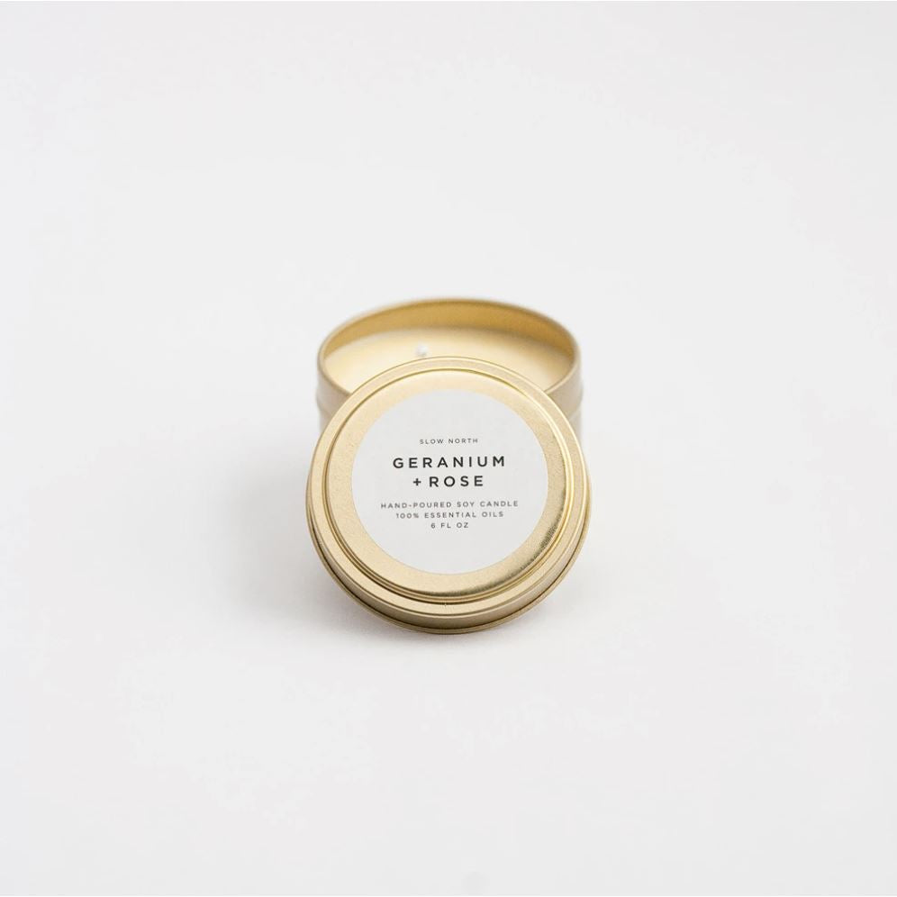 Travel Tin Candles - 6 ounce candle Slow North Geranium + Rose