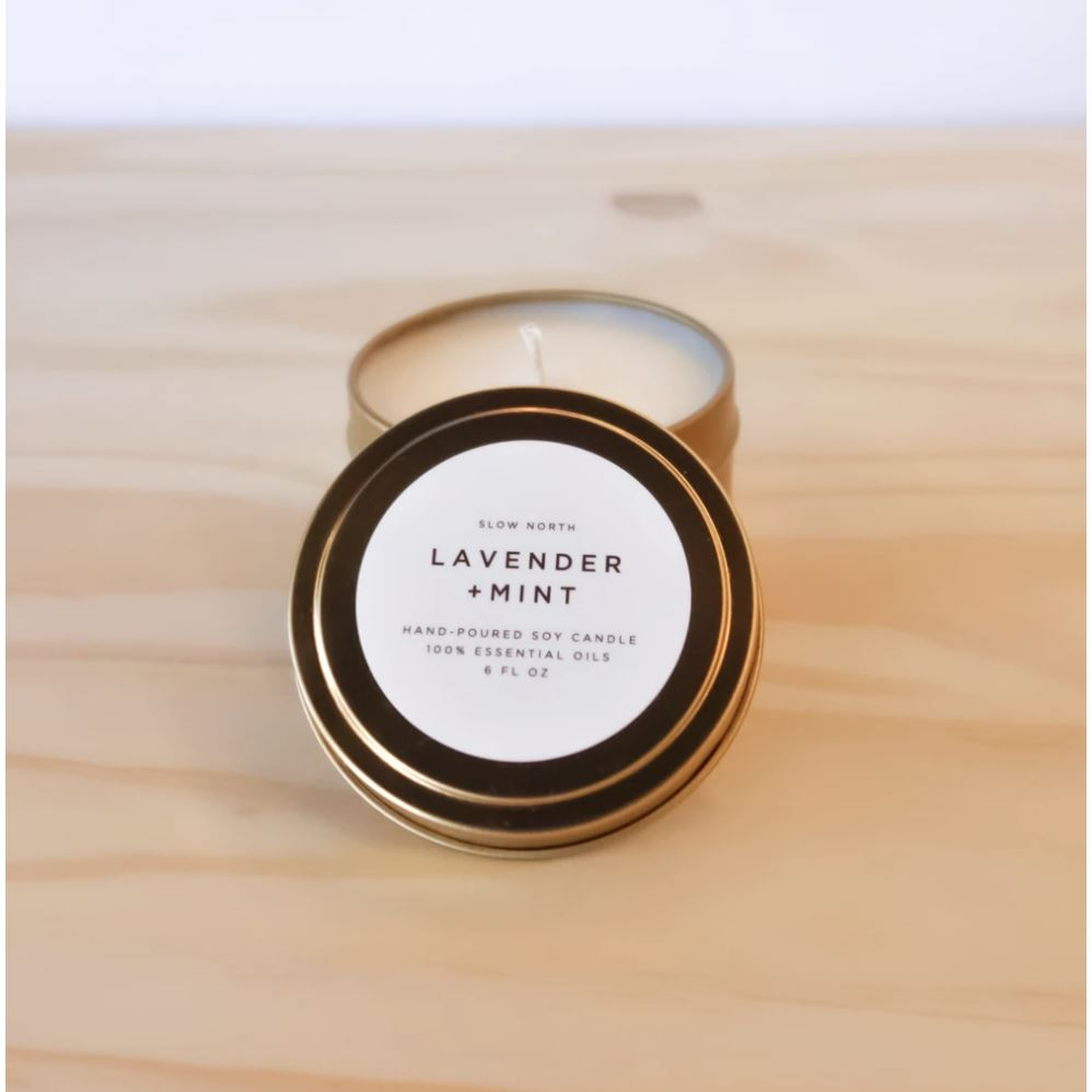 Travel Tin Candles - 6 ounce candle Slow North Lavender + Mint
