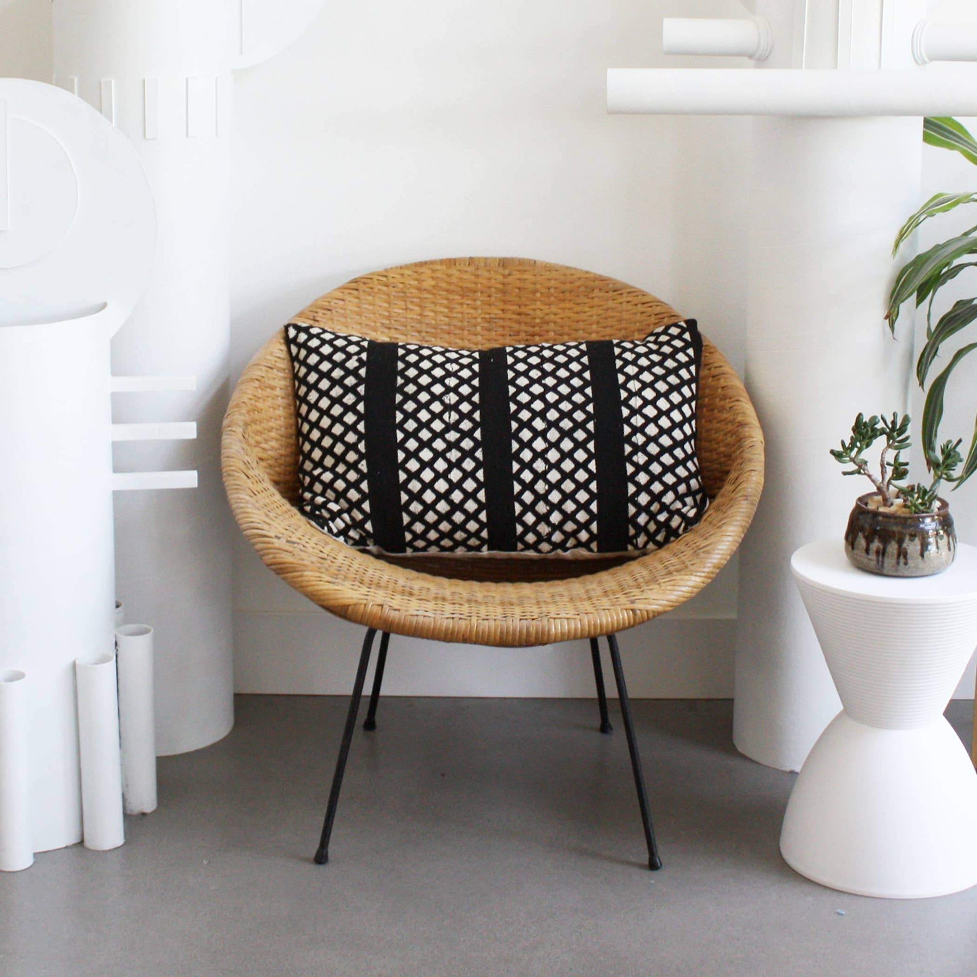 Black Trellis Mudcloth Lumbar Pillow Cover pillow Norwegian Wood