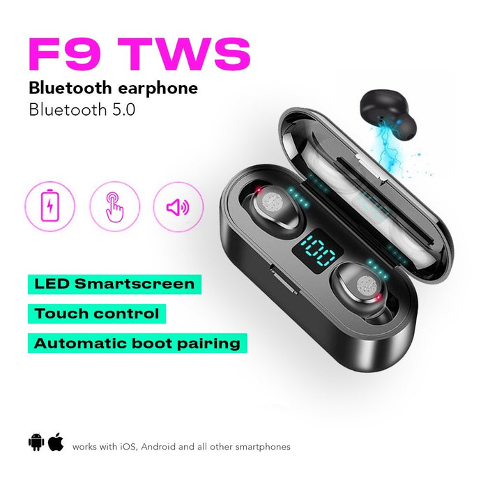 F9 TWS Premium Bluetooth Kopfhörer + Power Case - COMGAT