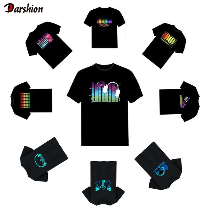 Hot Led T-Shirt mit Disco DJ Sound