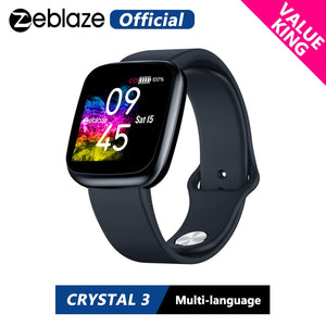 [Value King] New Zeblaze Crystal 3 Smartwatch WR IP67 Heart Rate Blood Pressure Long Battery Life IPS Color Display Smart Watch