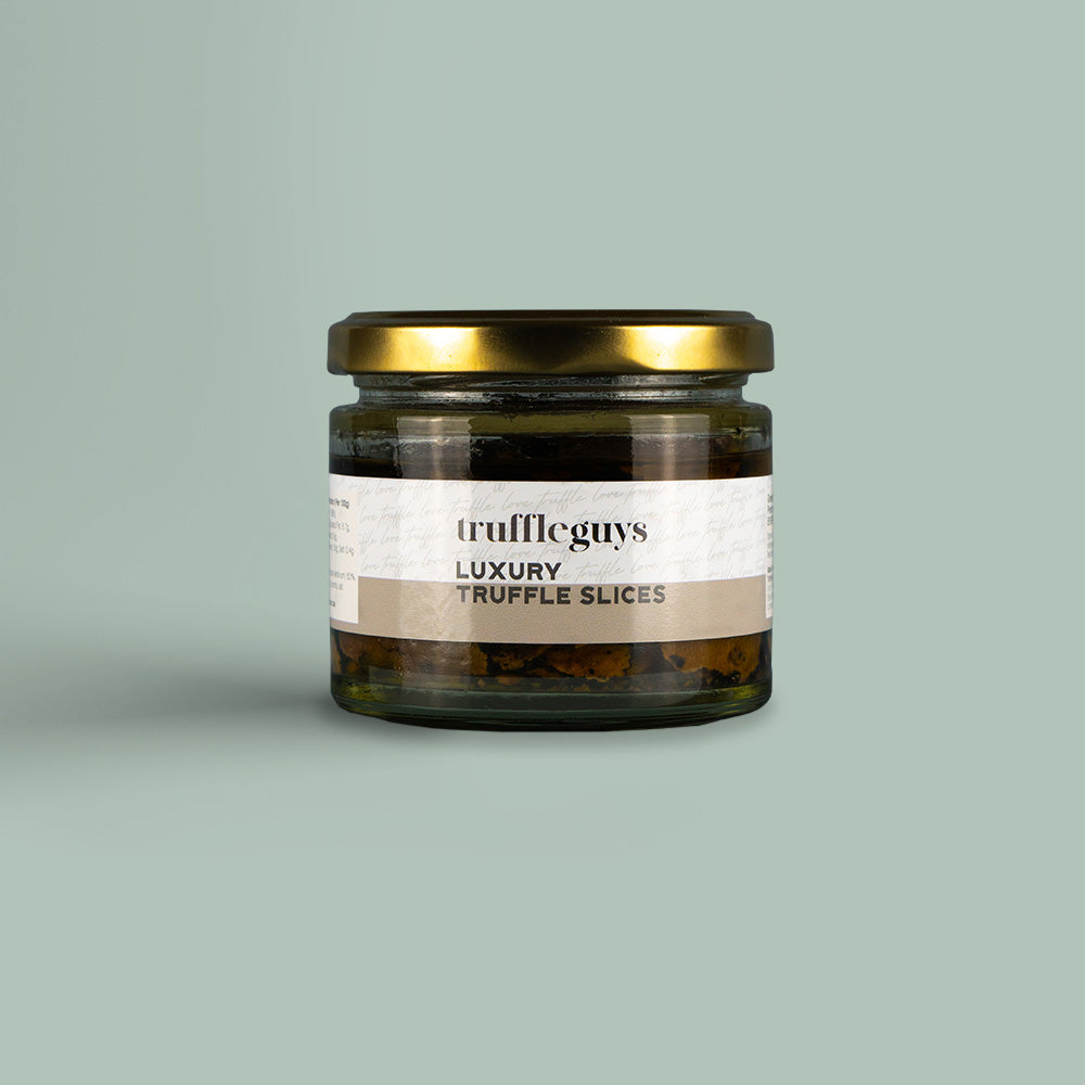 large 100g jar of truffle guys luxury truffle slices preserved in olive oil