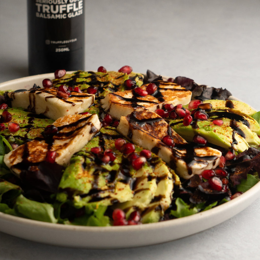 halloumi and pomegranate salad with truffle guys seriously good truffle balsamic glaze