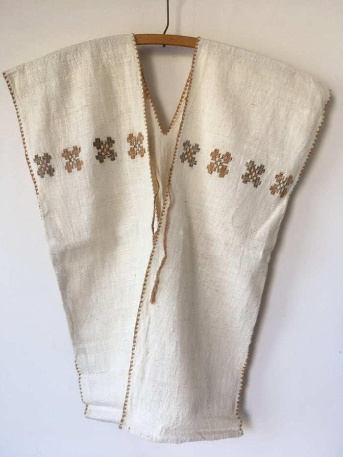 Huipil Poncho Vest Natural White