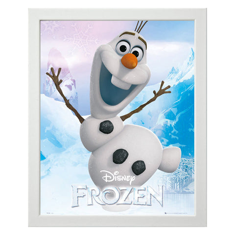 Disney Frozen - Olaf the Snow Man Mini Poster with White Wooden Frame