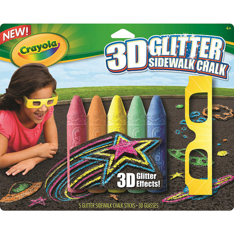 Crayola 3D Side Walk Glitter Chalk - 5 Pack