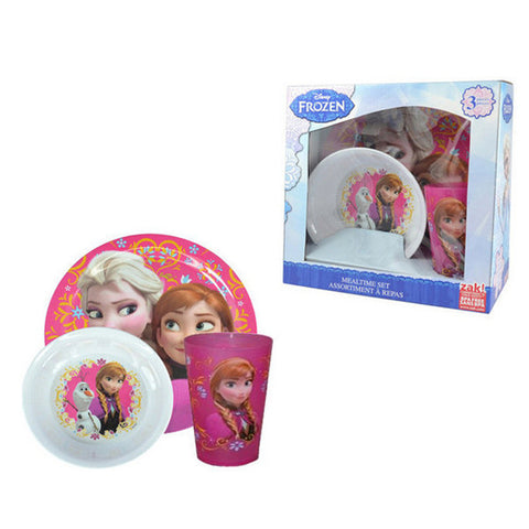 Disney Frozen Elsa & Anna Kids 3 Piece Meal Time Box Set (Plate, Cup & Bowl)