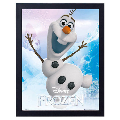 Disney Frozen - Olaf the Snow Man Mini Poster with Black Wooden Frame