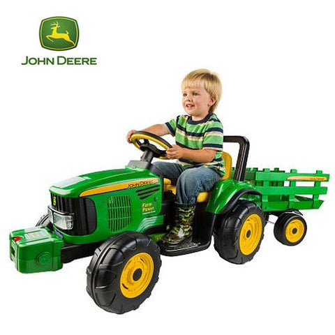 John Deere Farm Power 12v Ride On Tractor with Trailer