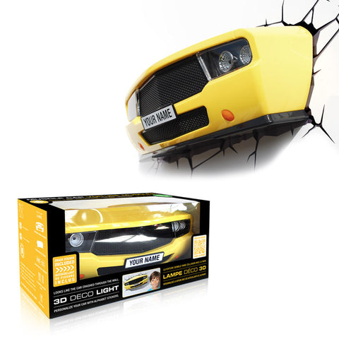 Yellow Classic Racing Sports Car 3D FX Wall Night Light (Chev Camaro Style)