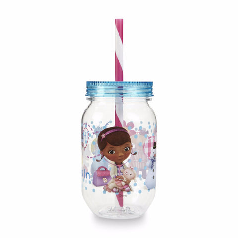 Disney Doc McStuffins Tritan Mason Jar Tumbler with Screw-on Lid and Straw