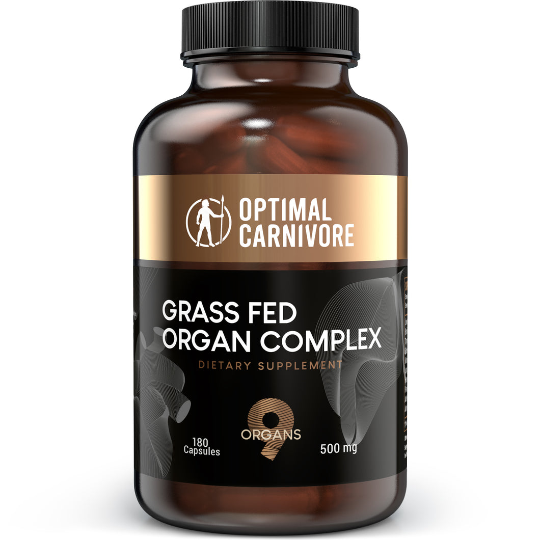 Grass Fed Organ Complex, Desiccated Beef Organs - Beef Liver, Brain, Heart, Thymus, Kidney, Spleen, Gallbladder, Pancreas, Lung, Ancestral Formula (180 Capsules) by Optimal Carnivore