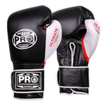 "Pro Boxing® Ultimate Velcro Boxing Gloves ""¢ Black/White/Red"