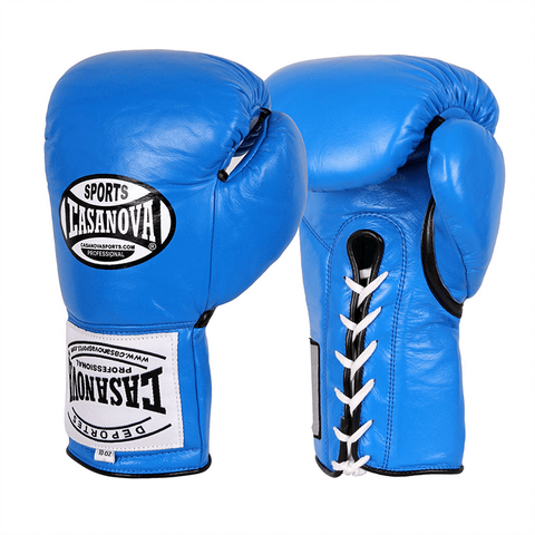 Casanova Boxing® Professional Lace Up Fight Gloves - Blue