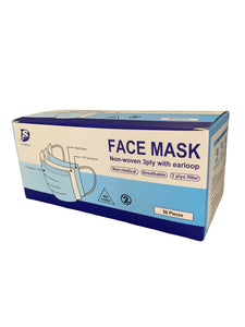 3-Ply Disposable Face Masks - Case of 2000